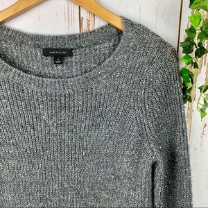 Ann Taylor Sweaters - Ann Taylor Sequin Gray Soft Oversized Sweater Grey